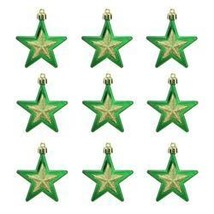 "9ct Green And Gold Glittered Shatterproof Star Christmas Ornaments 2.75"""" - ₨1,921.75 INR"