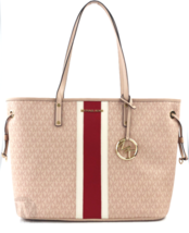 BRAND NEW WOMENS MICHAEL KORS LARGE DRAWSTRING SIGNATURE STRIPE TOTE HAN... - $189.00
