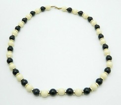 Black Cream Acrylic Bead Beaded Gold Tone Vintage Choker Necklace - $19.79