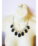large black bead drop necklace silver large link chain handmade costume ... - $6.99