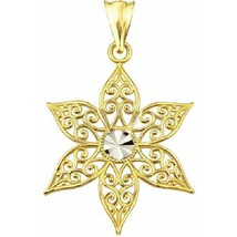 Us Gold 10Kt Gold Filigree Floral Charm Pendant - $93.13
