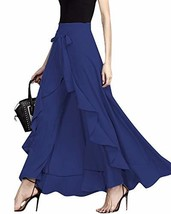 GIKING Women Ruffle Pants Full Length Split High Waist Retro Maxi Long Skirt Blu - $30.84