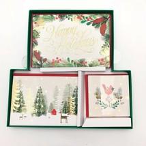 Hallmark Christmas Greeting Cards Boxed 24 Ct Green House Box Glitter Tr... - $19.54