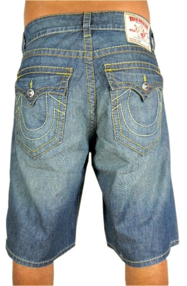NEW TRUE RELIGION MEN'S PREMIUM DENIM CASUAL JEANS SHORTS BUDDHA PACIFIC