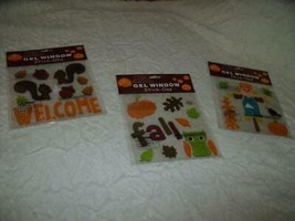 NEW Lot 3 Sets FALL Gel WINDOW CLINGS OWL SQUIRRELS SCARECROW Pumpkin CR... - $7.61
