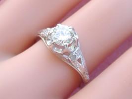 VINTAGE .80ct DIAMOND SOLITAIRE PLATINUM FILIGREE ENGAGEMENT RING 1950 s... - $4,058.01