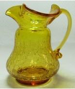 "Kanawha Dunbar W. VA Amber Yellow Crackle Glass Pitcher Creamer 4.25"" w/... - $7.99"