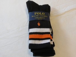 Polo Ralph Lauren Boys Socks 3 Pairs sock size 8-9.5 shoe size 13-3 Black - $34.64