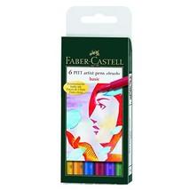 Faber-Castel PITT Artist Brush Pens, Basic, 6-Pack - $11.45
