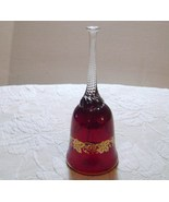 Bohemian Red Glass Bell With Gold Grapes And Leaves - $18.00