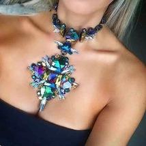 Geometric Fashion Crystal Choker Necklace Women Wedding  - $24.99