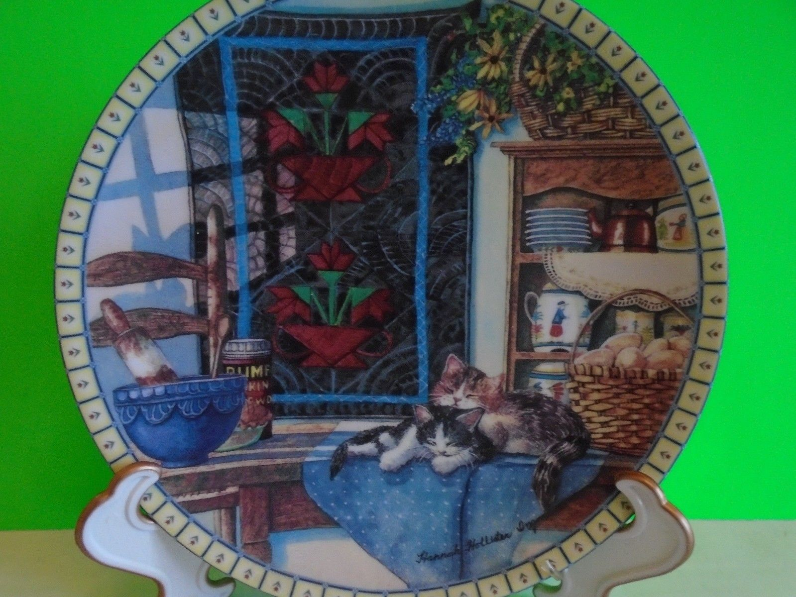 Collectors plate Edwin Knowles Fine China 1990 Lazy Morning Hannah Hollister EUC