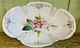 Antique Porcelain Hand Painted Floral Platter Dish Scalloped Edge Gold Trim - $39.99
