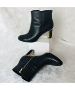 Bandolino Sabri Black Leather Booties Boots Woman Sz 9M Gold Trim Heels Zip - $39.55