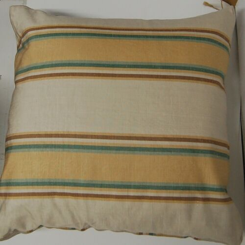 Workroom Original Goose Feather Down Throw Pillow Hand Made Striped Cover