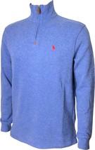 Polo Ralph Lauren Men's Half Zip French Rib Cotton Sweater Blue Heather M MD  - $74.99