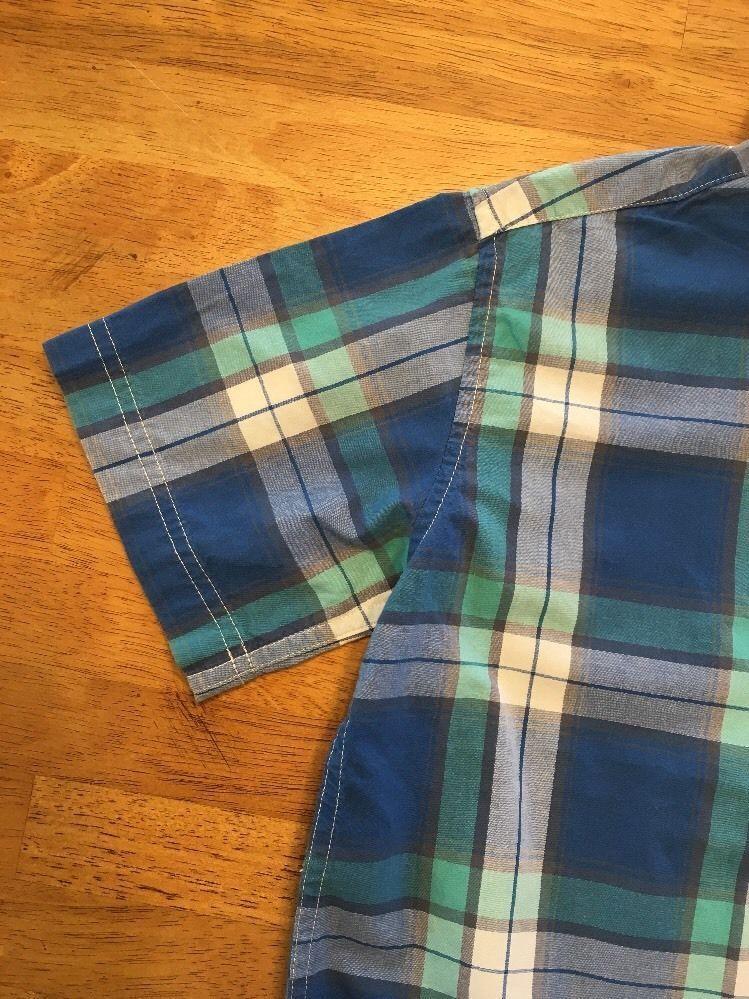 Gap Kids Boy's Blue, Green & White Plaid Short Sleeve Dress Shirt - Size: Medium image 5