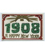 Happy New Year 1908 Date Greetings postcard - $5.89