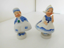 "Vintage Porcelain 3.5"" Dutch Pair Nodders Boy & Girl Swingers Japan - $18.99"