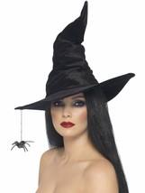 Smiffys Sombrero Bruja Negro Araña Magia Velour Accesorio Traje Hallowee... - $15.71