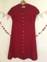 TALBOTS Irish LINEN Dress Red Button Front Lined Women's Size 12 NWOT - $29.55