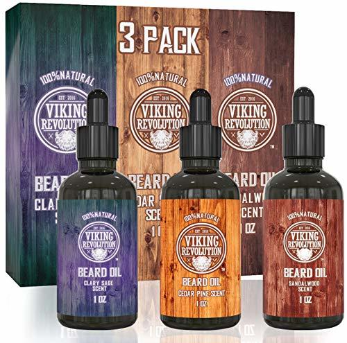 Beard Oil Conditioner 3 Pack - All Natural Variety Gift Set - Sandalwood, Pine &