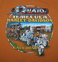 Harley Davidson Quaid Temecula California Stagecoach Tshirt Orange Short... - $7.87