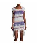 Arizona Sleeveless Crochet Fringe Chiffon Swim Coverup New Size L Msrp $... - $376,62 MXN