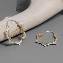 Women Hoop Earrings 925 Sterling Silver Lotus Flower Natural Fashion Jewelry - $35.99