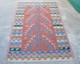 Size: 3'7 x 5'5 feet/ Beautiful handmade vintage Caucasian wool kilim rug - $259.00