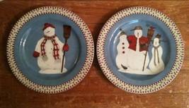 Set Of 2 Sakura Debbie Mumm SNOWMAN Salad Dessert Plates Christmas Holiday Decor - $9.89