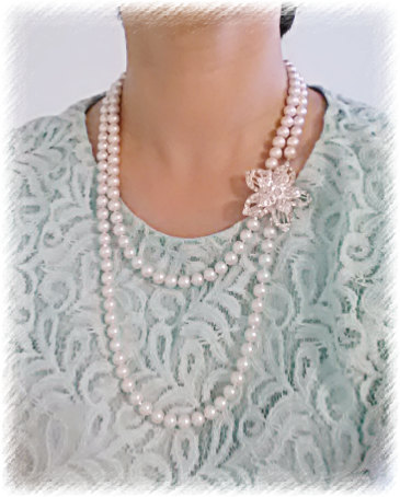 Elegant, Long One Strand, 8mm White Glass Pearl Necklace with Rhinestone Pendant