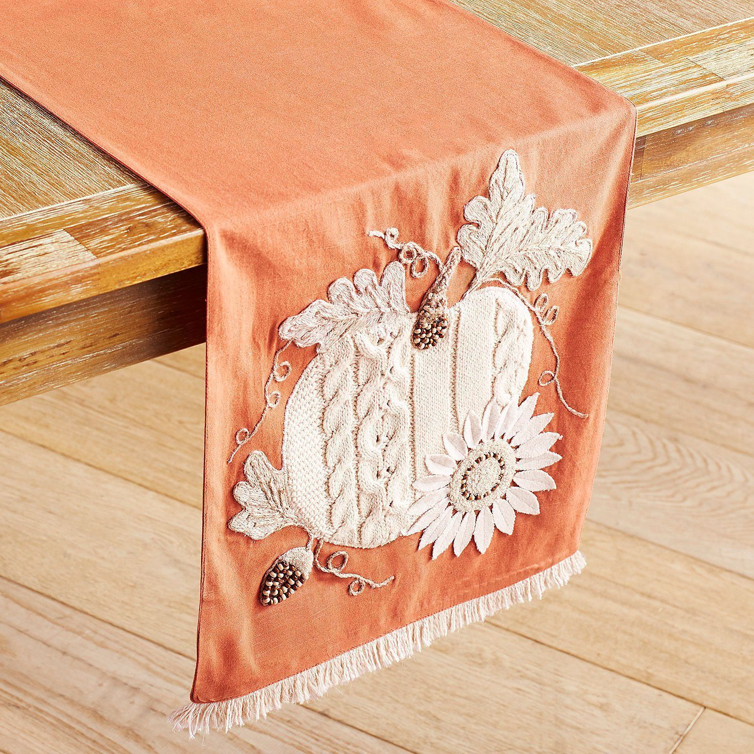 Primary image for NWT Pier 1 grateful harvest ivory pumpkin fringed  table runner 72 length