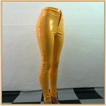 Bright Yellow Tight Fit Faux Leather High Waist Front Zip Up Legging Pencil Pant image 2