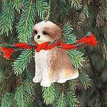 Shih Tzu Puppy Cut Miniature Dog Ornament - Brown & White - $10.99