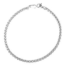 U7 3mm Stainless Steel Twisted Rope Wheat Chain Bracelet,8.3 Inches Length - $26.99