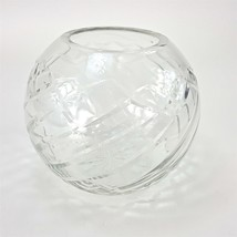 "Clear Cut Glass Round Globe 5"" Bowl Sphere Flower Vase Table Decor Vanity - $18.59"