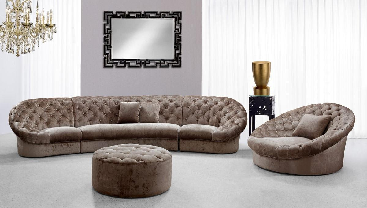 Soflex Miami Mini Luxury Modern Beige Fabric Crystals Tufted Sectional Sofa Set3