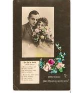 Postcard tinted photo latvia happy easter woman man flowers poeme - $10.90