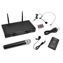 Wireless Microphone System Audio Dual Cordless Mics Headset Transmitter - $49.36