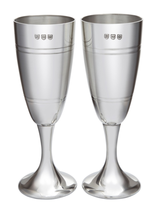 Par De Parte Satén Peltre champán copas en caja de presentación - $124.08