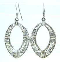 VTG .925 Sterling Silver Open Work Filigree Oval Dangle Earrings - $39.60