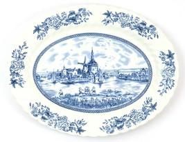 "Vintage Johnson Brothers Tulip Time Serving Platter, Blue & White Oval, 12"" - £14.23 GBP"