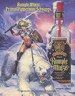 Primary image for Amazon Warrior Riding Polar Bear 1990 Rumple Minze Distillery Liquor Ad