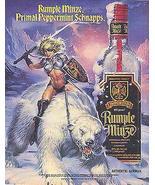 Amazon Warrior Riding Polar Bear 1990 Rumple Minze Distillery Liquor Ad - $14.99