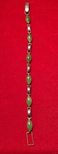 """Vintage Handmade Sterling Silver & Oval Jade Cabochons Bracelet 7-5/8"""""""