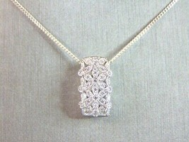 Womens Vintage Estate Sterling Silver Necklace W/ CZ Pendant 4.8g E5976 - $29.70