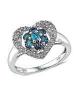 Neon Apatite and White Topaz Halo Heart Ring 1.50 carats   Size 6 - $111.75