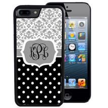MONOGRAM CASE FOR iPHONE X 8 7 6 5 SE 5C PLUS RUBBER GRAY DAMASK POLKA DOTS - $13.98