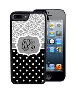 MONOGRAM CASE FOR iPHONE X 8 7 6 5 SE 5C PLUS RUBBER GRAY DAMASK POLKA DOTS - $13.98